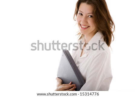 attractive young woman with laptop on the white