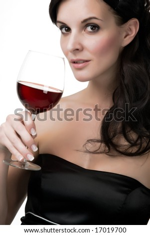 Attractive young woman with red wine - stock photo