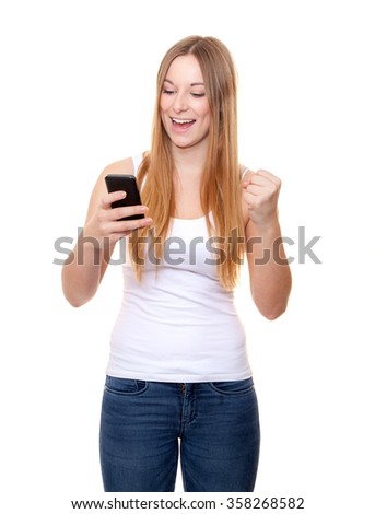 Attractive young woman with smart phone. All on white background.