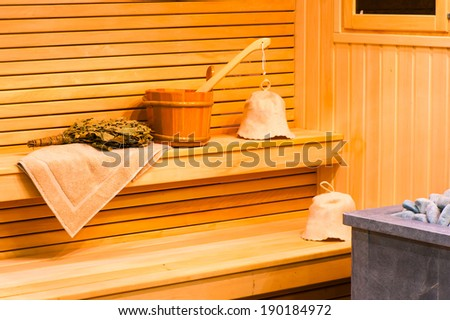 attributes for paired procedures in the sauna - stock photo