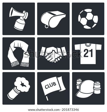 Attributes Soccer fan icon set - stock photo