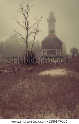 Au Sable Point Lighthouse, Pictured Rocks National Lakeshore, Michigan - stock photo