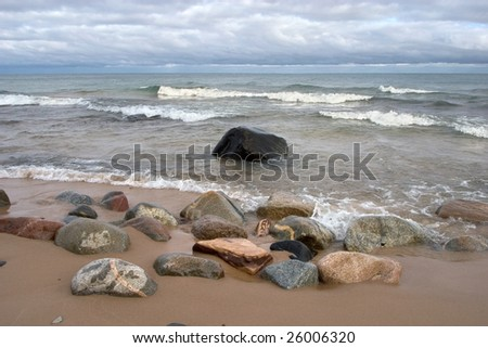 Au Sable Point, Pictured Rocks National Lakeshore, Michigan - stock photo