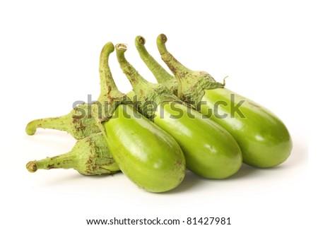 aubergine isolated on white background - stock photo