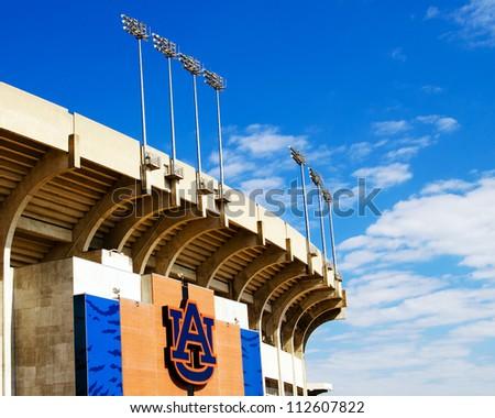 AUBURN, AL- SEPT. 11: Facade of Jordan Hare stadium on the campus of Auburn University in Auburn, Alabama, on Sept. 11, 2012. The stadium is the home field for the 2010 NCAA Champion Auburn Tigers. - stock photo