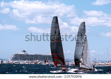 AUC - MARCH 1:Team Alinghi and Team NZ during the Americas cup of 2003 on March 01 2003 in Auckland New Zealand.It was contested between Team NZ and the winner of the 2003 Louis Vuitton Cup Alinghi