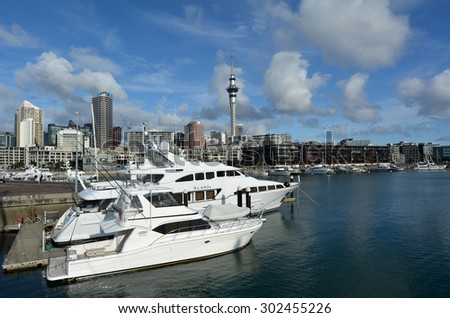 AUCKLAND - AUG 01 2015:Yachts mooring at Auckland Viaduct Harbor Basin.It's a former commercial harbor turned into a development of upscale apartments, office space and restaurants.