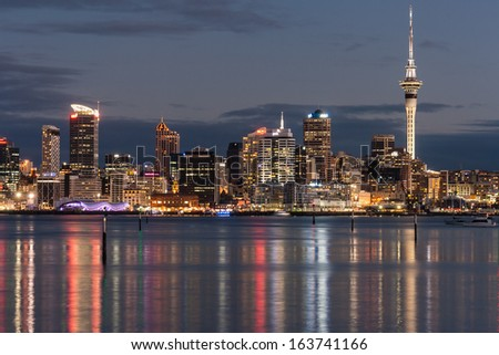 Auckland CBD at night - stock photo