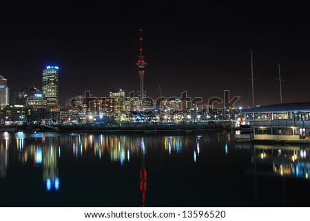 Auckland city at night - stock photo