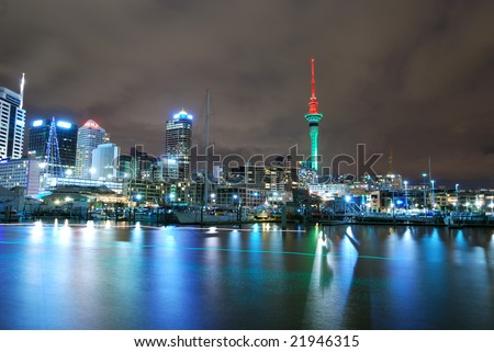 Auckland city at night - stock photo