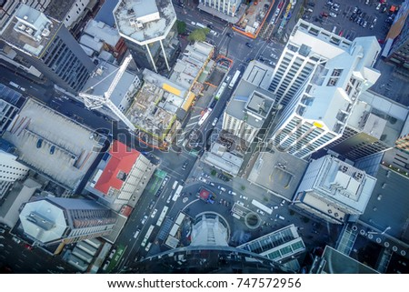 Auckland city. Buildings aerial top view, New Zealand
