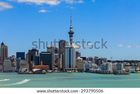 Auckland cityscape, North Island, New Zealand - stock photo