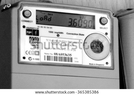 AUCKLAND - DEC 06 2015:Smart meter.Concerns have been raised about the safety of smart meters, mainly because they give off the same kinds of radiofrequency (RF) waves as cell phones and Wi-Fi devices - stock photo