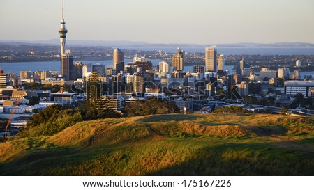 AUCKLAND - FEB 17 2007:  View of Auckland city and Waitemata Harbour, from the summit of Mount Eden volcano. Auckland is New Zealand's largest city and the country's most popular visitor destination.