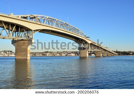 Auckland Harbor Bridge in Auckland, New Zealand. - stock photo