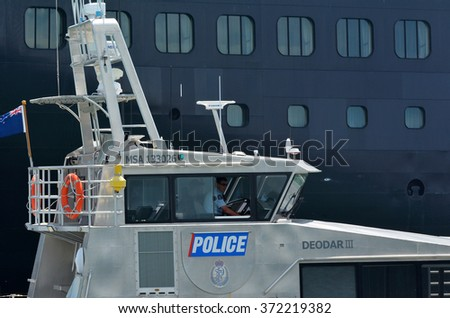 AUCKLAND - JAN 30 2016:Auckland Police Maritime Unit patrol in ports of Auckland.It's operational area covers almost 4,000 km2 with about 110,000 watercraft.