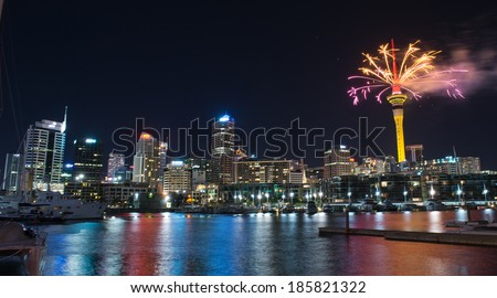 AUCKLAND, NEW ZEALAND - FEBRUARY 16: Auckland Sky Tower displaying a spectacular firework display to celebrate Chinese New Year on February 16th 2014  - stock photo