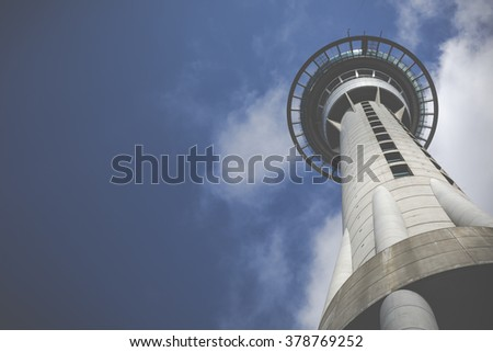 AUCKLAND, NEW ZEALAND - NOV 24 2014: 328 metres (1,076 ft) tall Auckland Sky Tower. It's tallest free-standing structure in the Southern Hemisphere and iconic symbol of Auckland New Zealand