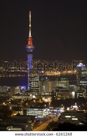 Auckland New Zealand Sky Tower at Night - stock photo