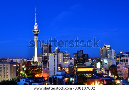AUCKLAND - NOV 06 2015:Auckland New Zealand skyline at evening.Auckland is the business capital of New Zealand - stock photo
