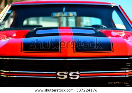 AUCKLAND - NOV 05 2015:Chevrolet Camero SS front in a Public US classic muscle car show.1969 total sales of the Camaro reached 243,085,  A stunning number for a car on the market for less than 3 years - stock photo