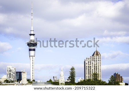 AUCKLAND, NZ - CIRCA MAY 2014:Auckland Sky Tower. It's 328 metres (1,076 ft) tall from ground level to the top of the mast,making it the tallest free-standing structure in the Southern Hemisphere. - stock photo