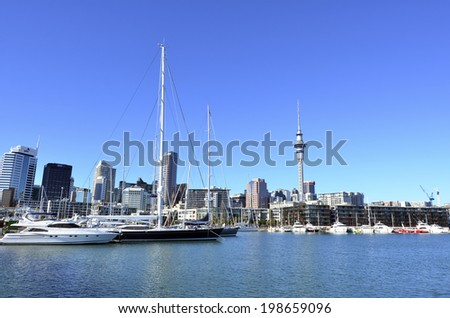 AUCKLAND, NZ - JUNE 01 2014:Auckland downtown skyline.Auckland has been rated one of the world's top 10 cities to visit by travel bible Lonely Planet.