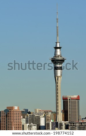 AUCKLAND,NZ - MAY 28 2014:Auckland Sky Tower.It's 328 metres (1,076 ft) tall from ground level to the top of the mast,making it the tallest free-standing structure in the Southern Hemisphere. - stock photo