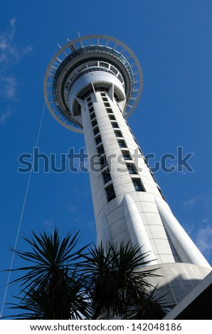 AUCKLAND, NZ - MAY 29:Auckland Sky Tower on May 29 2013.Due to its shape and height, especially when compared to the next tallest structures, it has become an iconic structure in Auckland's skyline.