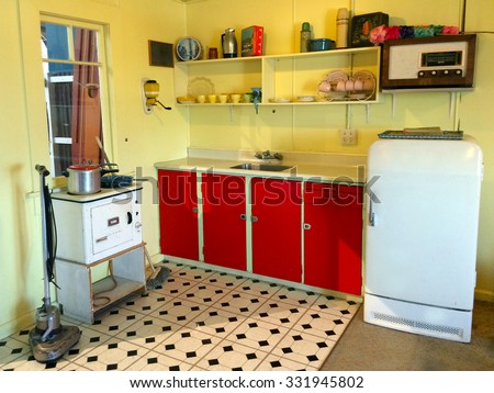AUCKLAND  - OCT 25 2015:Interior of an old batch holiday home Kitchen in New Zealand. More than 50,000 baches exist around New Zealand and they are an iconic part of NZ history and culture. - stock photo