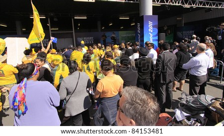 AUCKLAND- SEPT.6: Australia Rugby team supporters await team arrival  for World Cup 2011 in Auckland International Airport, Auckland, New Zealand on Tuesday September 6, 2011. - stock photo