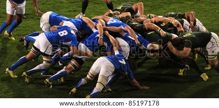 AUCKLAND - SEPT. 22: Rugby World Cup 2011 match between South Africa and Namibia at the North Shore Stadium in Auckland, New Zealand on September 22, 2011.