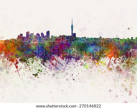 Auckland skyline in watercolor background - stock photo