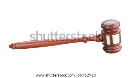 Auction bidding hammer isolated on white - stock photo