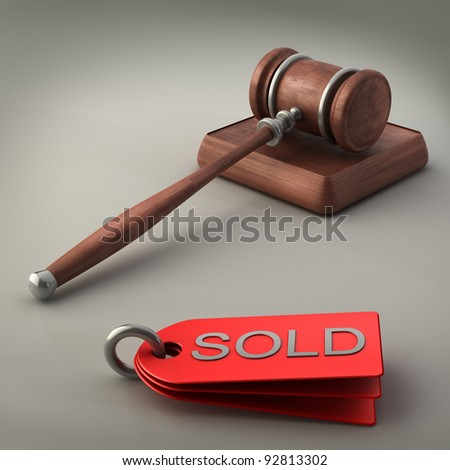 Auction gavel  High resolution 3D image - stock photo