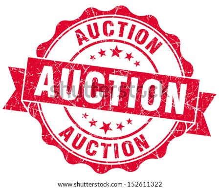 auction grunge red stamp - stock photo