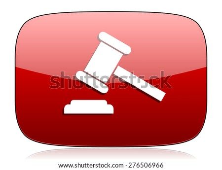 auction red glossy web icon  - stock photo