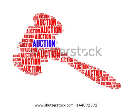 Auction text in shape of Gavel on white background - stock photo