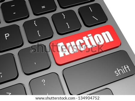 Auction with black keyboard - stock photo