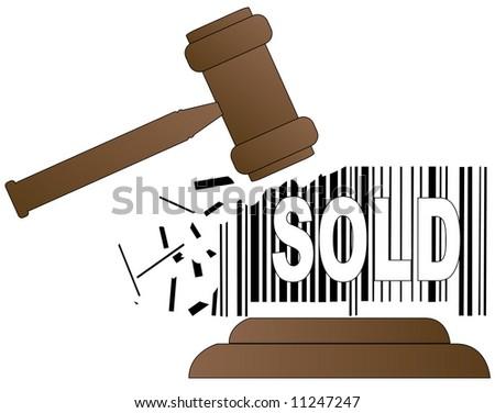 auctioneers gavel smashing down sales barcode - stock photo