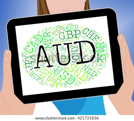 Aud Currency Representing Exchange Rate And Banknotes - stock photo