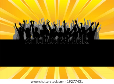 Audience Cheering Success  Template Background - stock photo