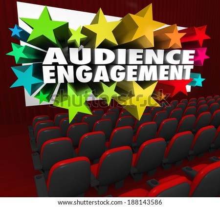 Audience Engagement Words Movie Theater Screen Viewers Visitors - stock photo