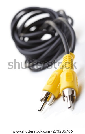 Audio and video cables on white background - stock photo