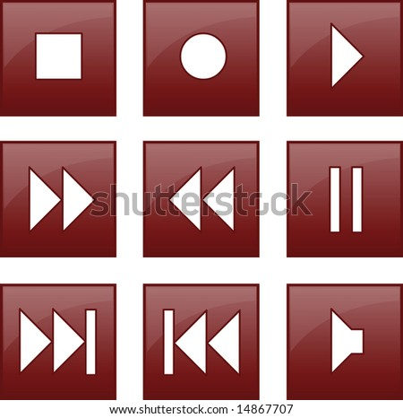 audio and video control buttons - stock photo