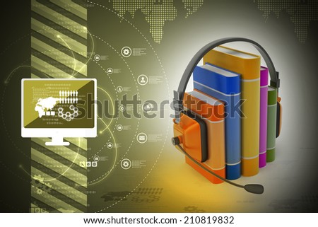 audio book concept with headphones and books   - stock photo