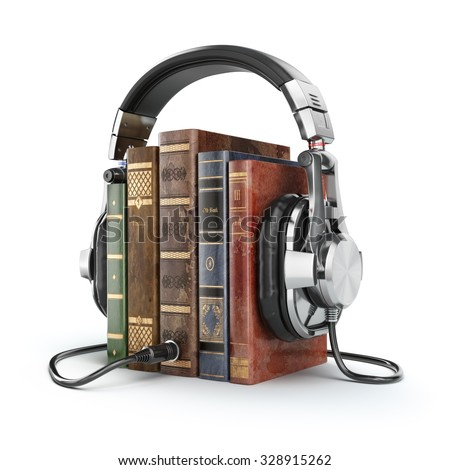 Audio books concept. Vintage books and headphones. 3d - stock photo