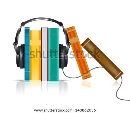audio books concept with headphones - stock photo