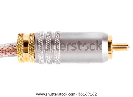 Audio cable connector isolated on white background - stock photo