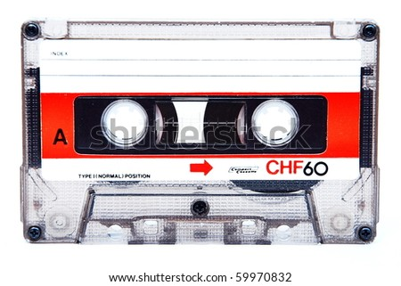 Audio cassette, Compact Cassette isolated on white background - stock photo